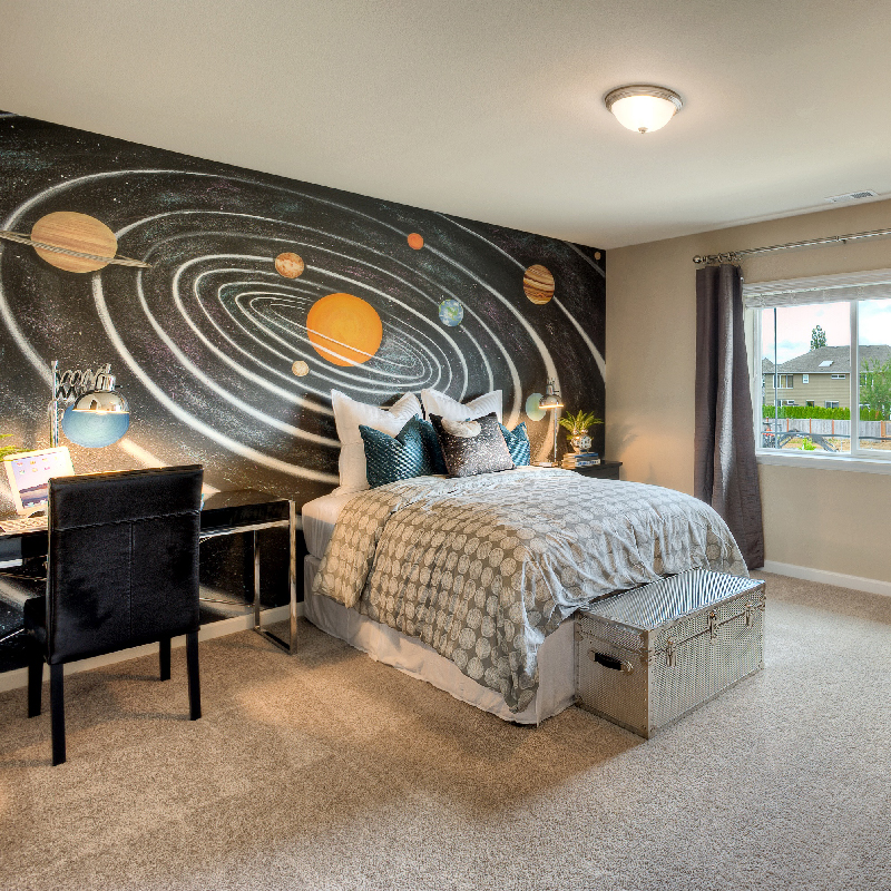A bedroom wall with the solar system