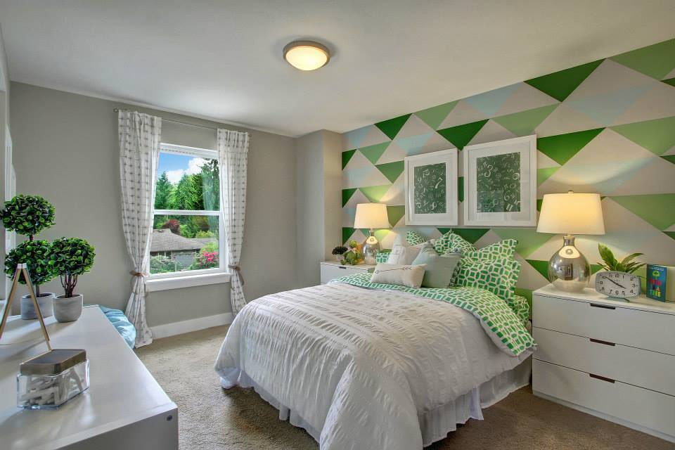 Bedroom with Green Pattern on wall