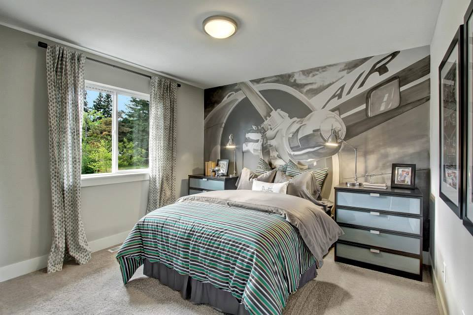 Bedroom with Airplane Mural